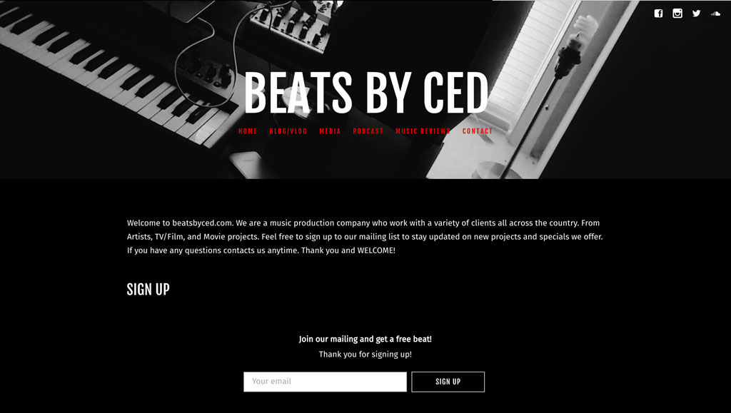 Beats by Ced website example