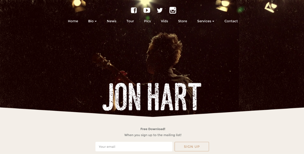 Build your mailing list and send professional newsletters - Jon Hart Mailing List Signup