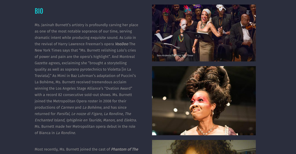 Classical singer bio page example