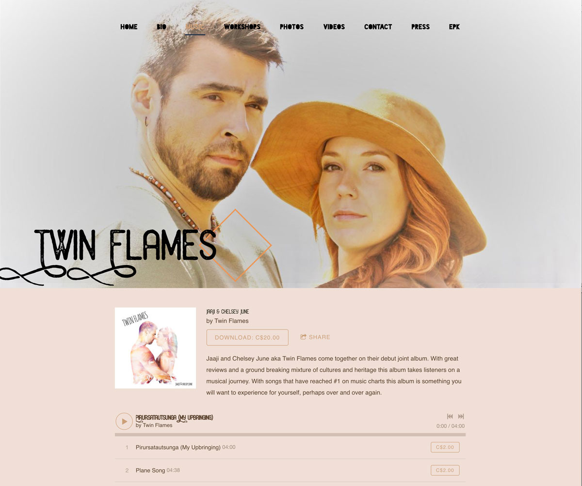 Duo music website template