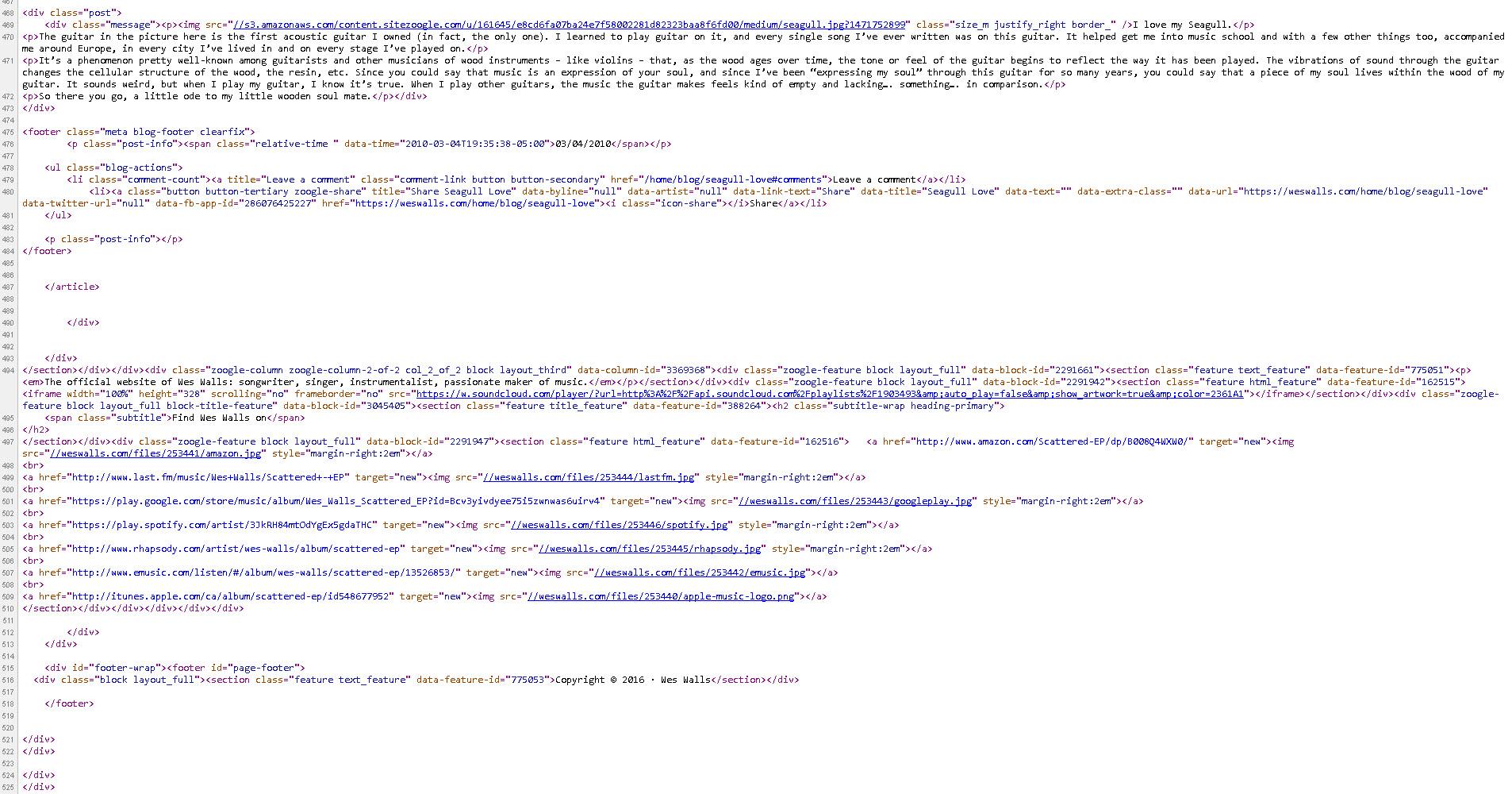 Bandzoogle clean HTML