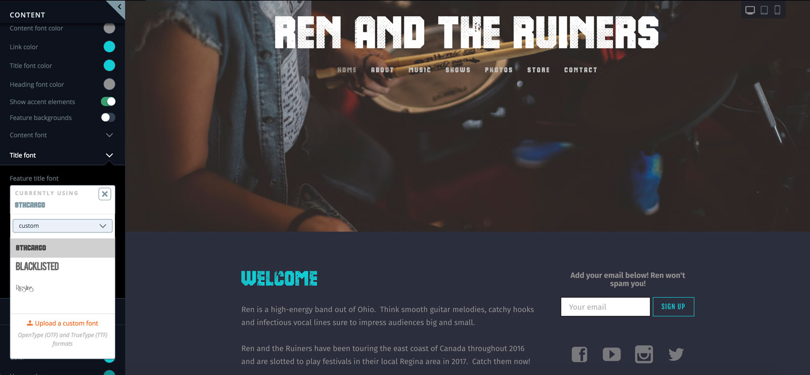 Upload a custom font to your band website