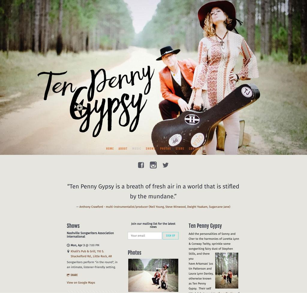 Ten Penny Gypsy website