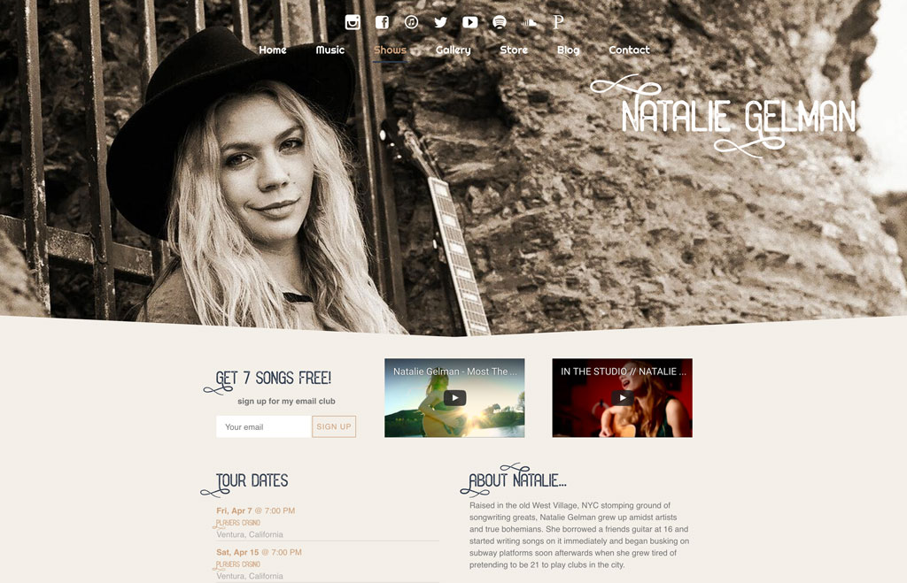 Singer-songwriter website Natalie Gelman