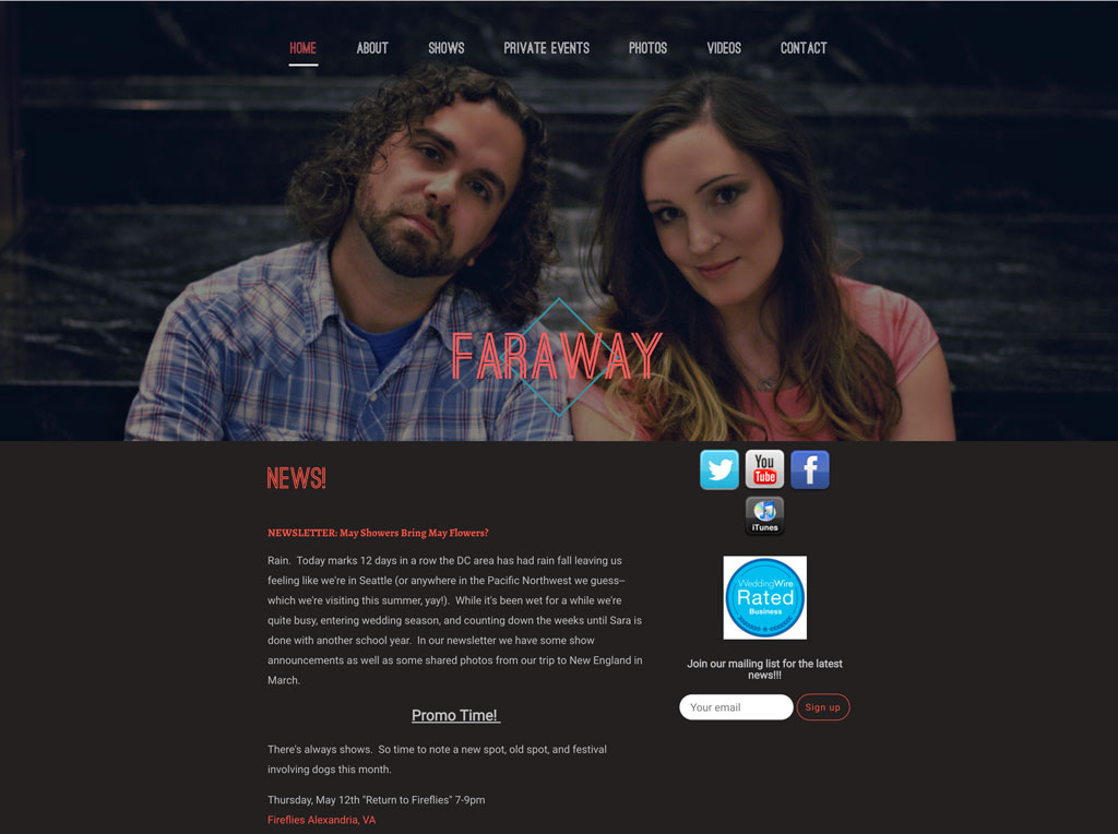 Singer songwriter website Faraway