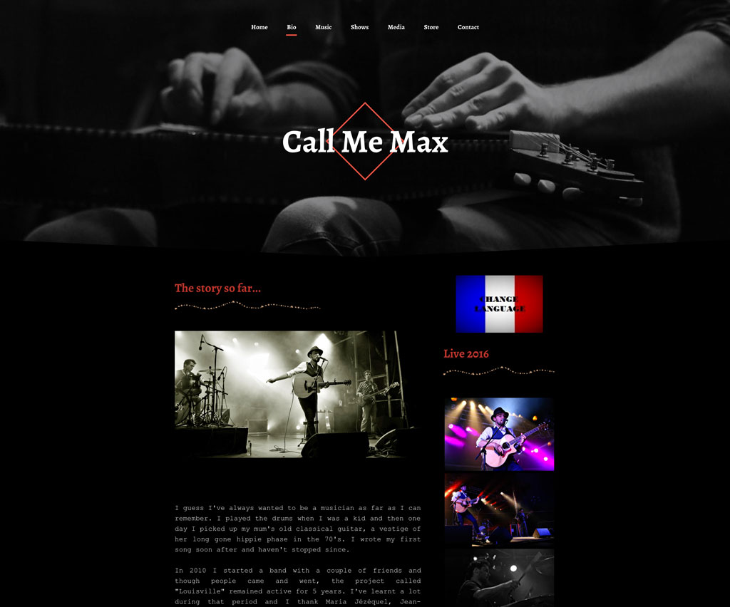Singer Songwriter website Call me Max