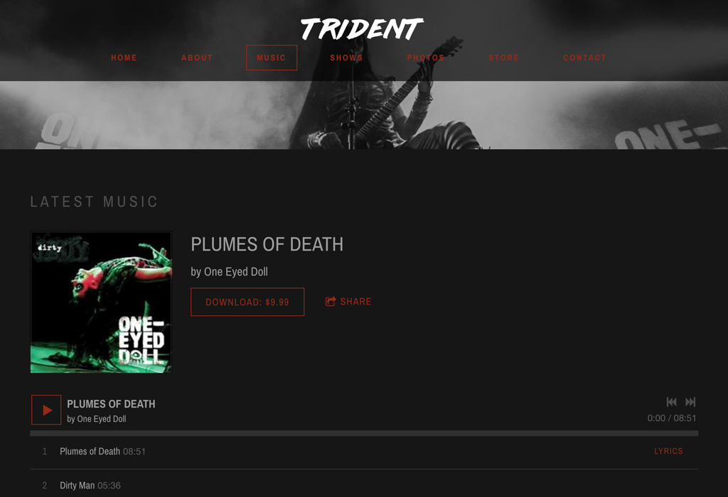 Website template Trident Music player