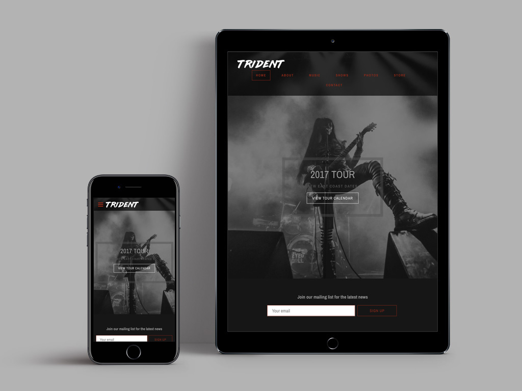 New website template black and white on mobile