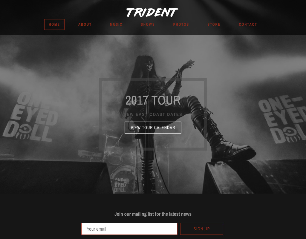 New website theme Trident Home page