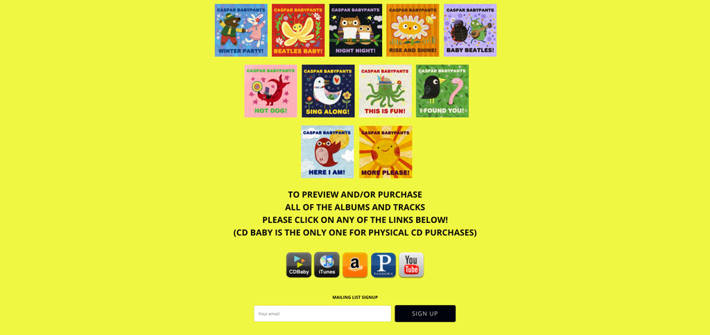 Caspar Babypants children's music website
