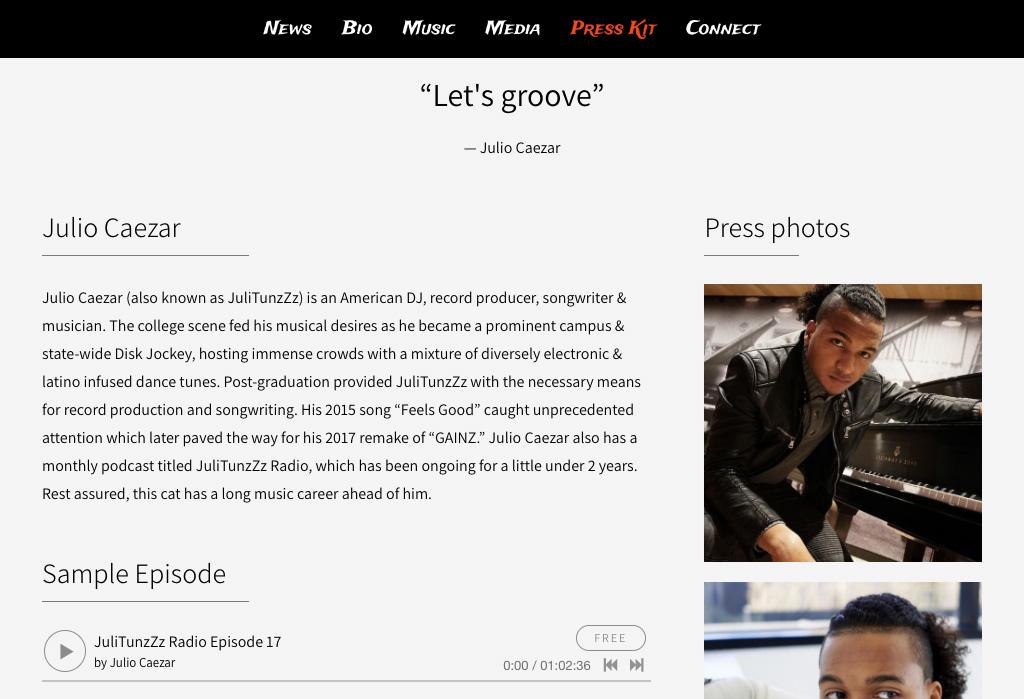 dj biography template - dj website design 1 template 3 ways