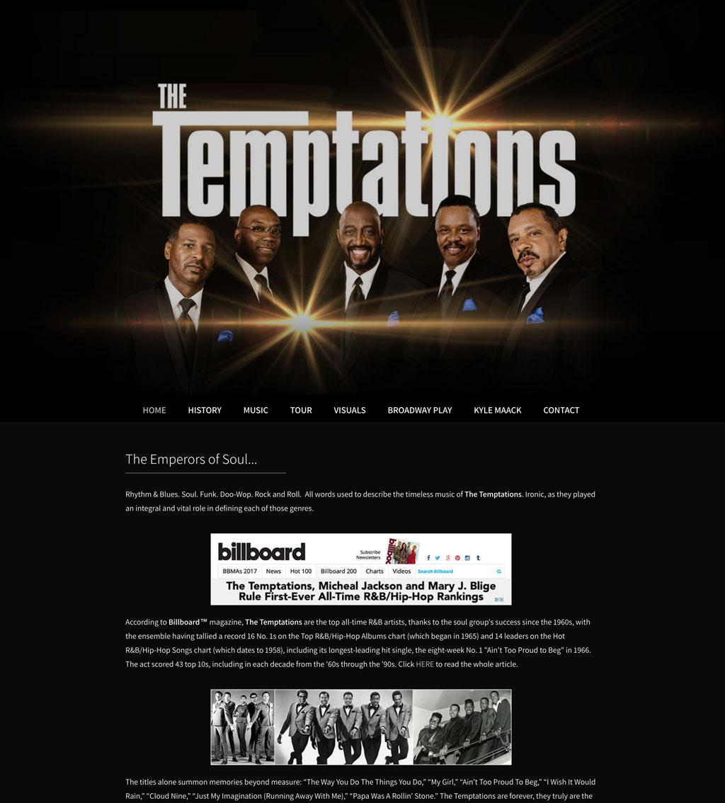 The Temptations website customization