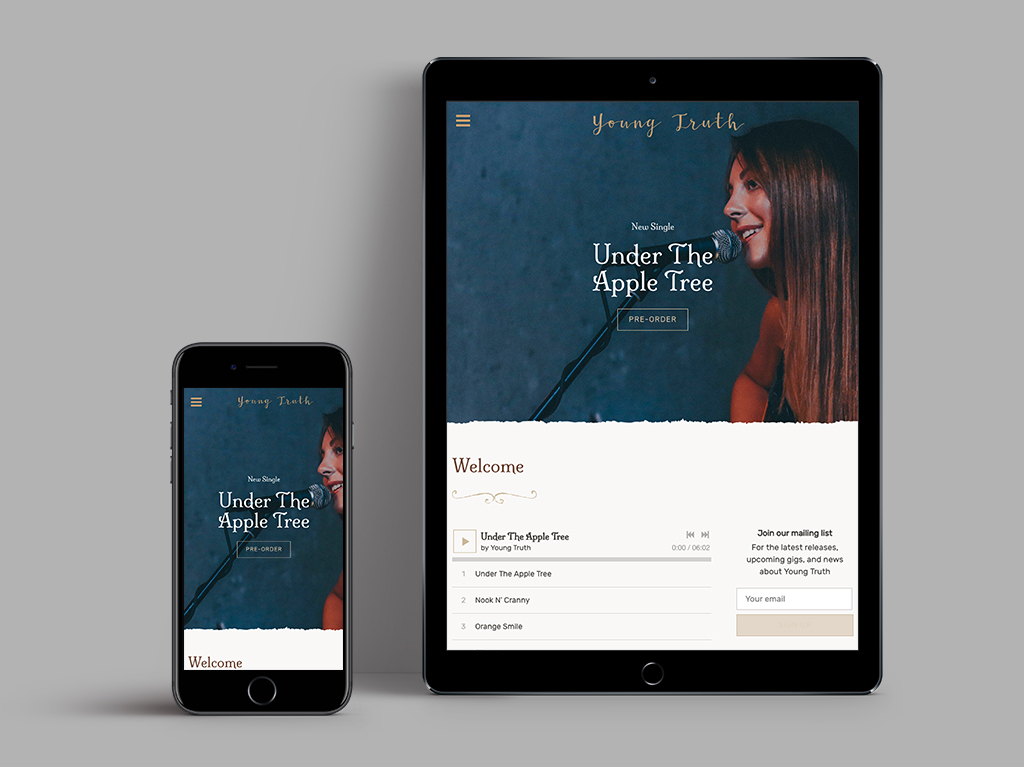 Band website template mobile