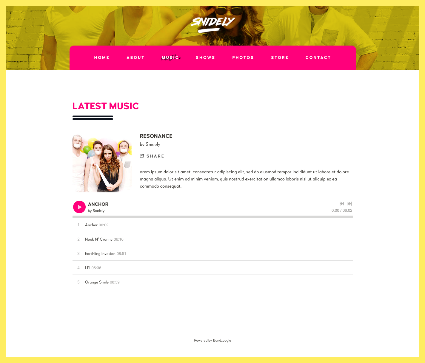 Music website template music page
