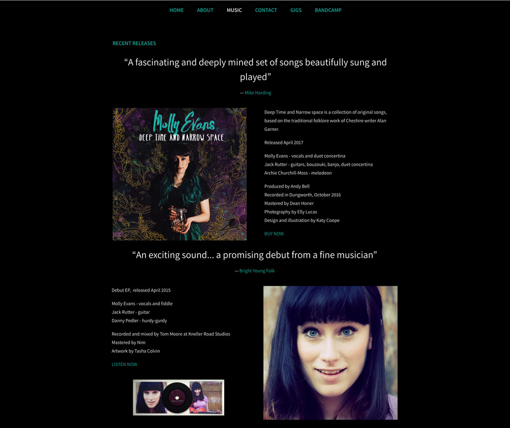 Molly Evans music website