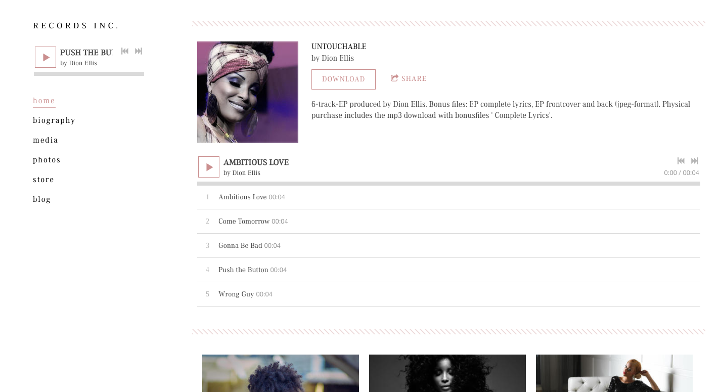 Band website template interior page