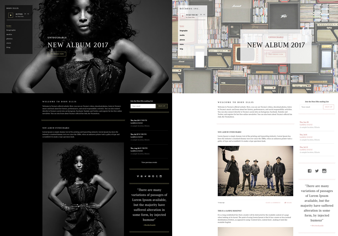 Band website template dark and light versions