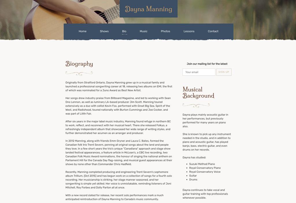 dayna manning bio page