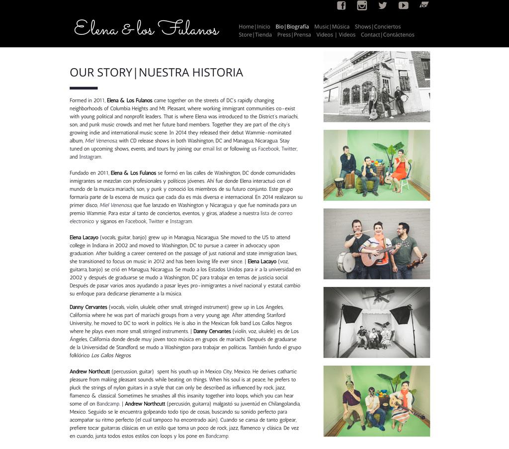 Elena los fulanos bio page