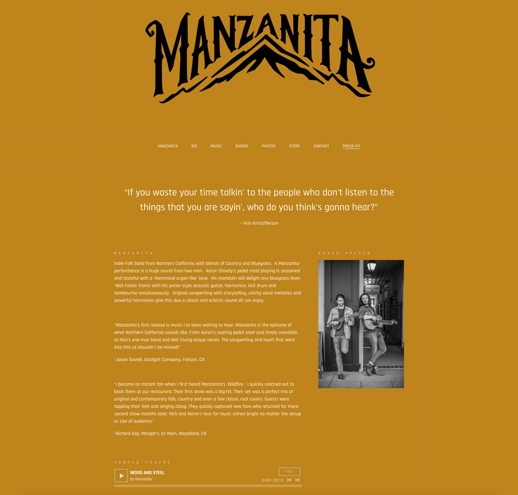 Manzanita website customization