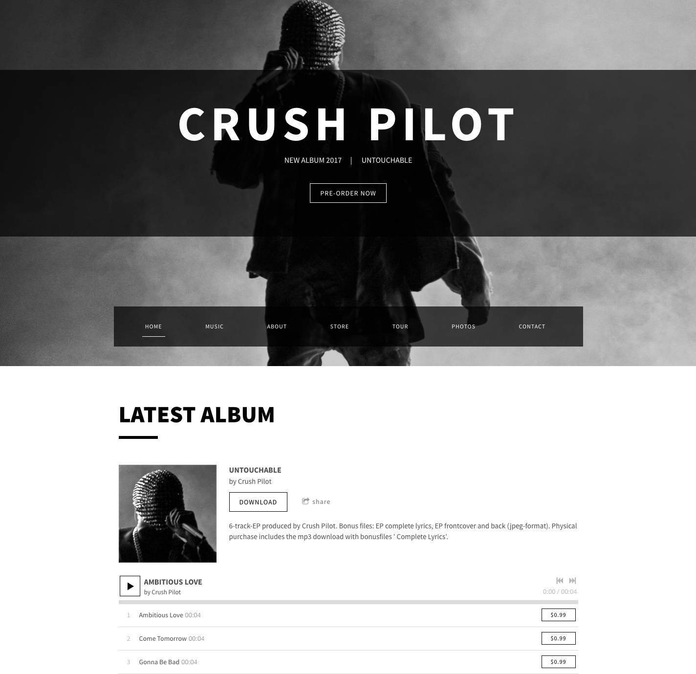 Billboard website theme dark