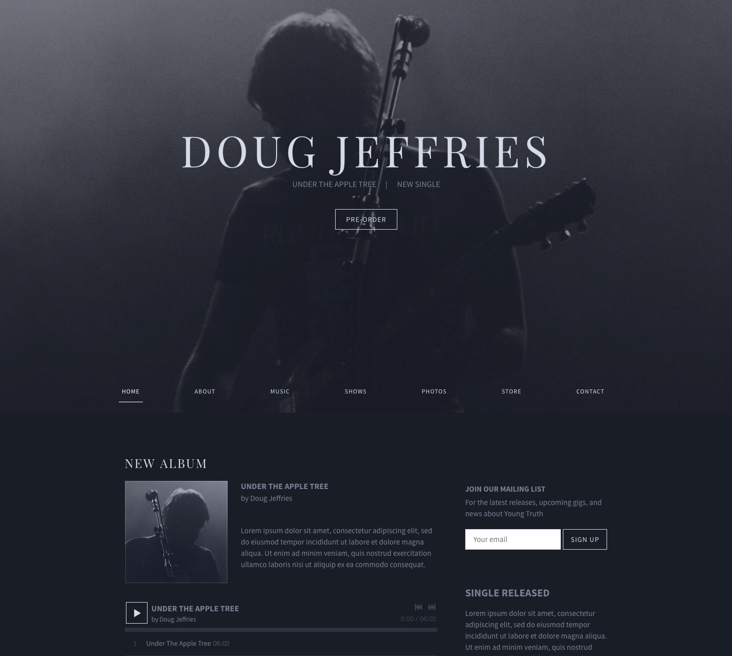 BIllboard website template sombre version