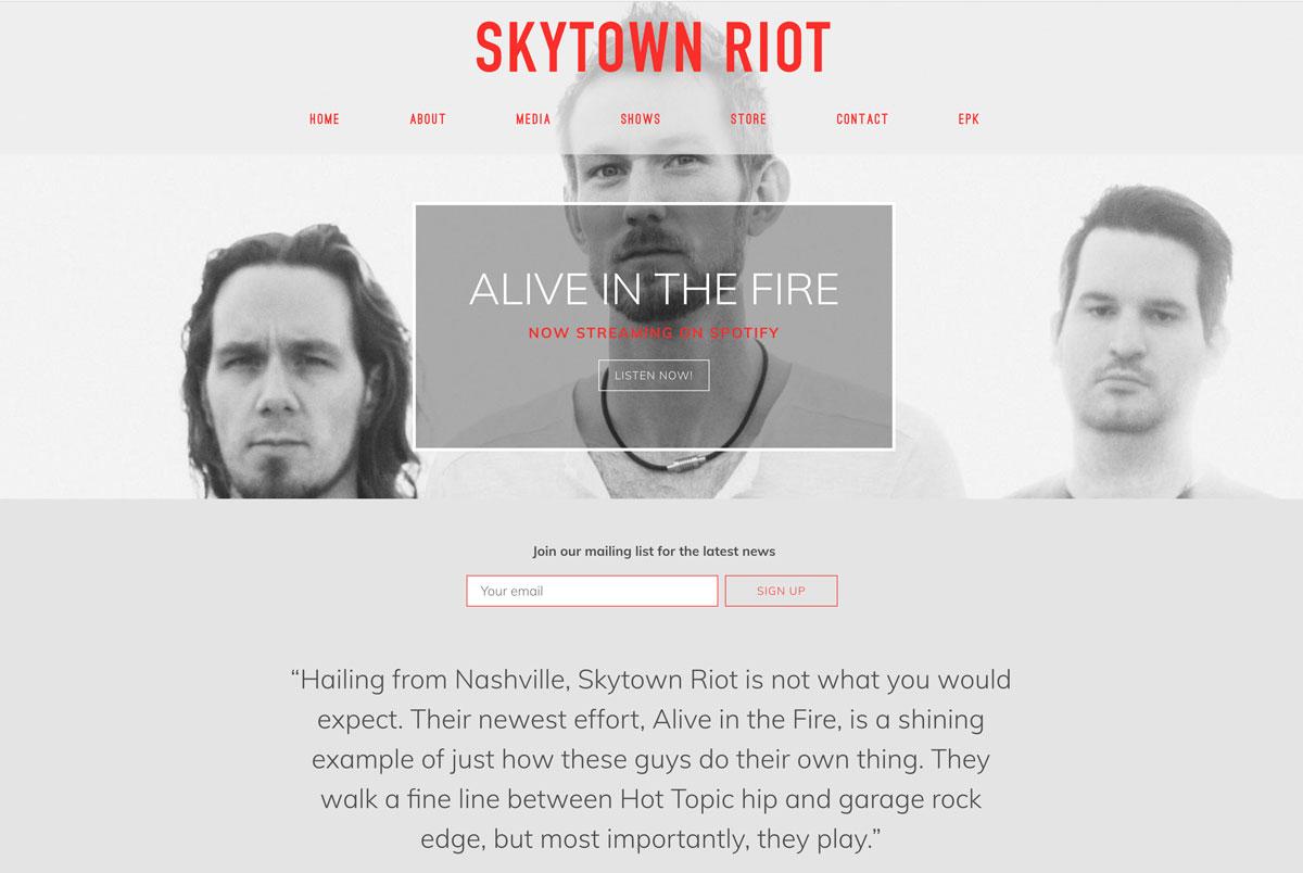 Skytown Riot website design customization
