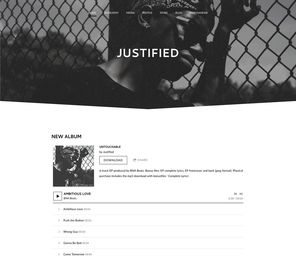 Black and white website theme