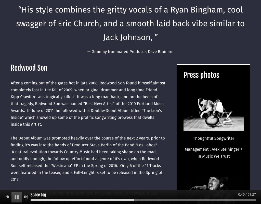 Music Website Design EPK page