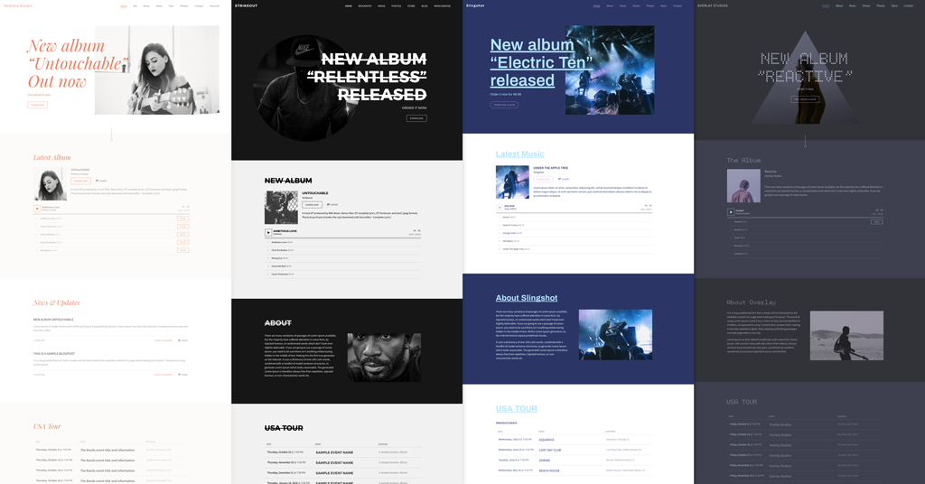 Music website template variations