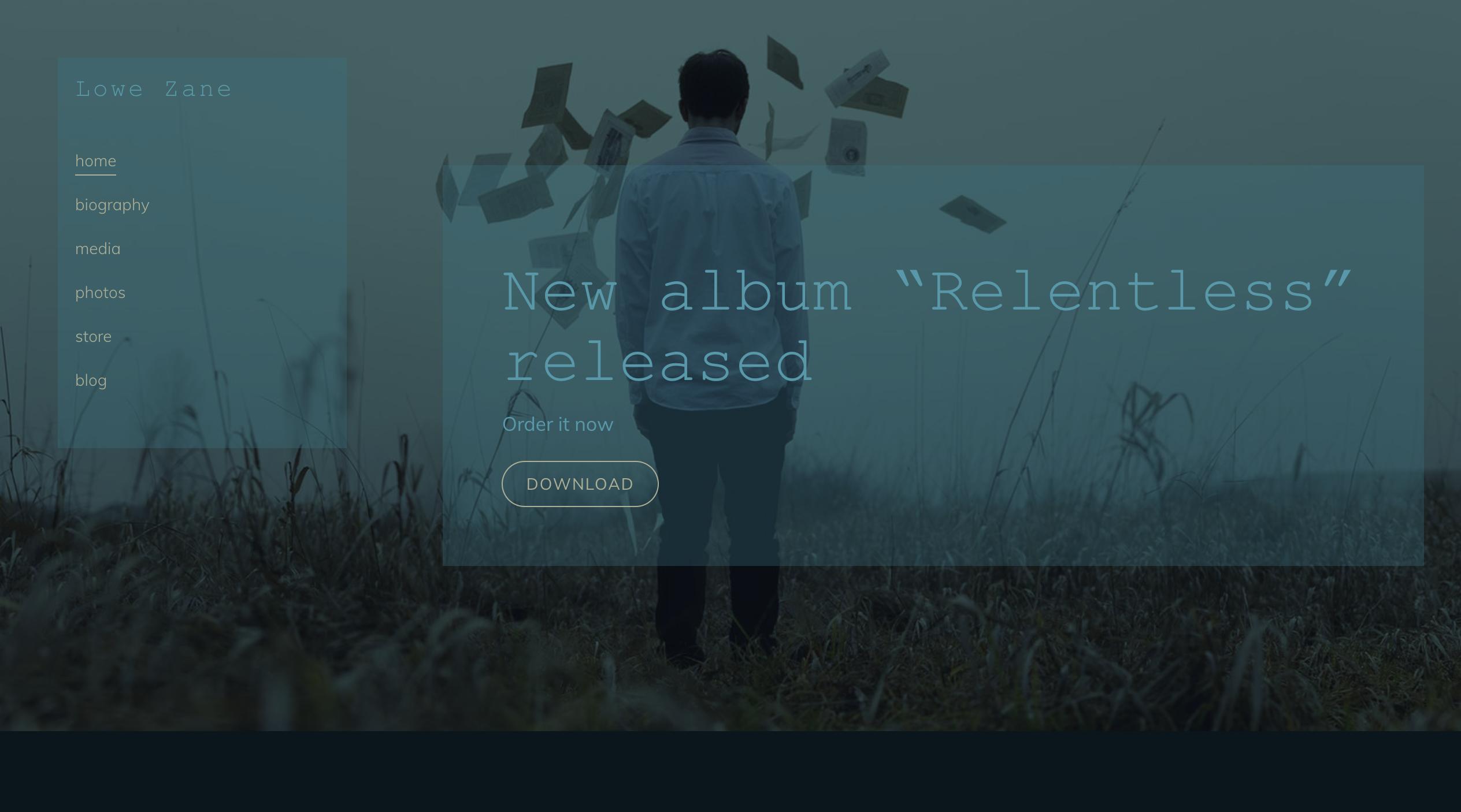 Nocturne music website template variation 2