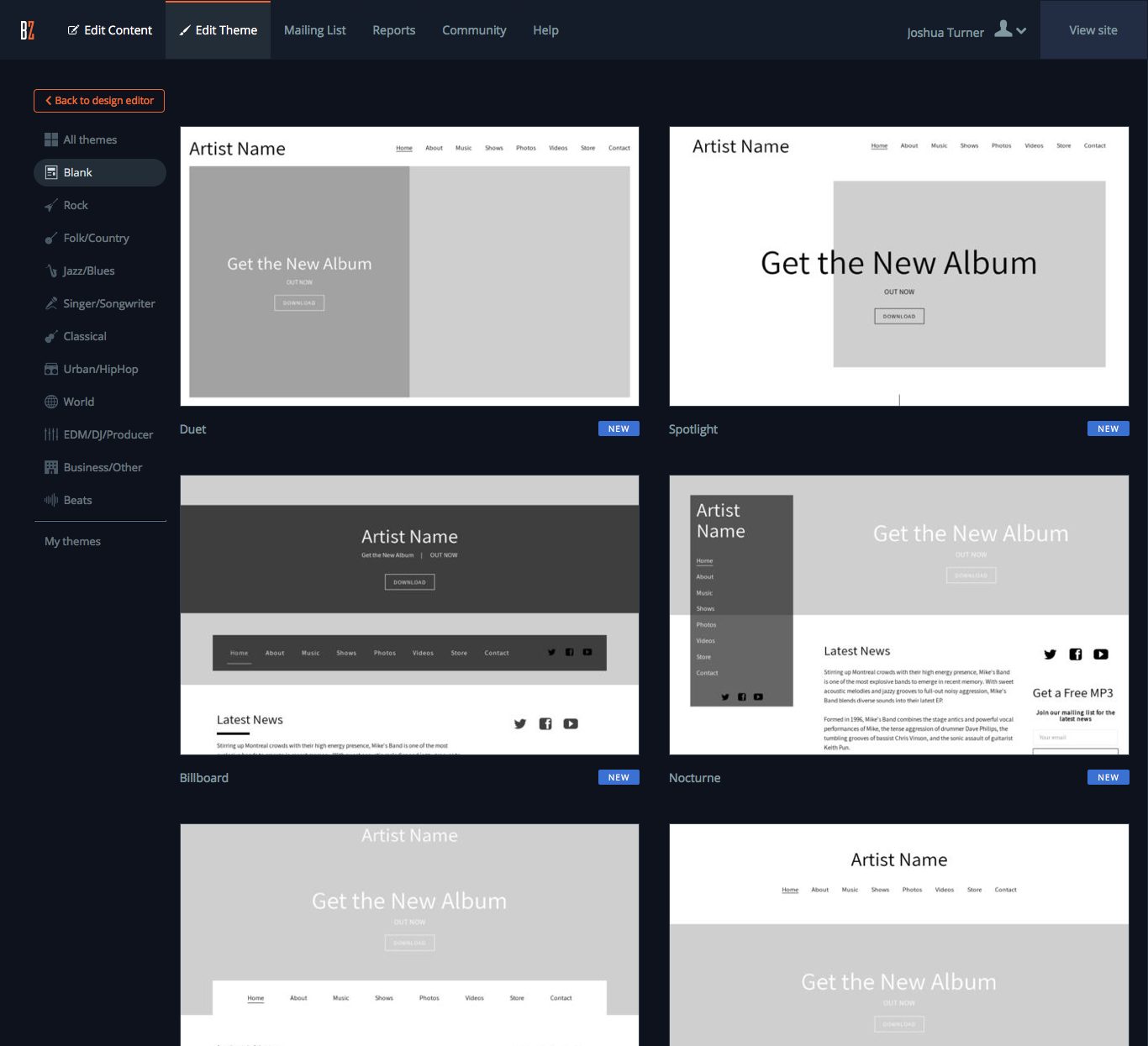 A Blank Canvas: Introducing Blank Website Themes for bands