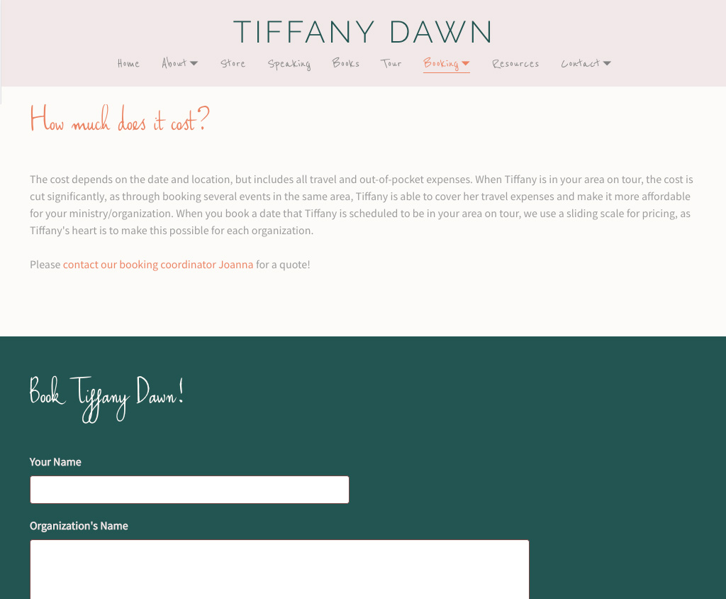 how to design a booking page for your band