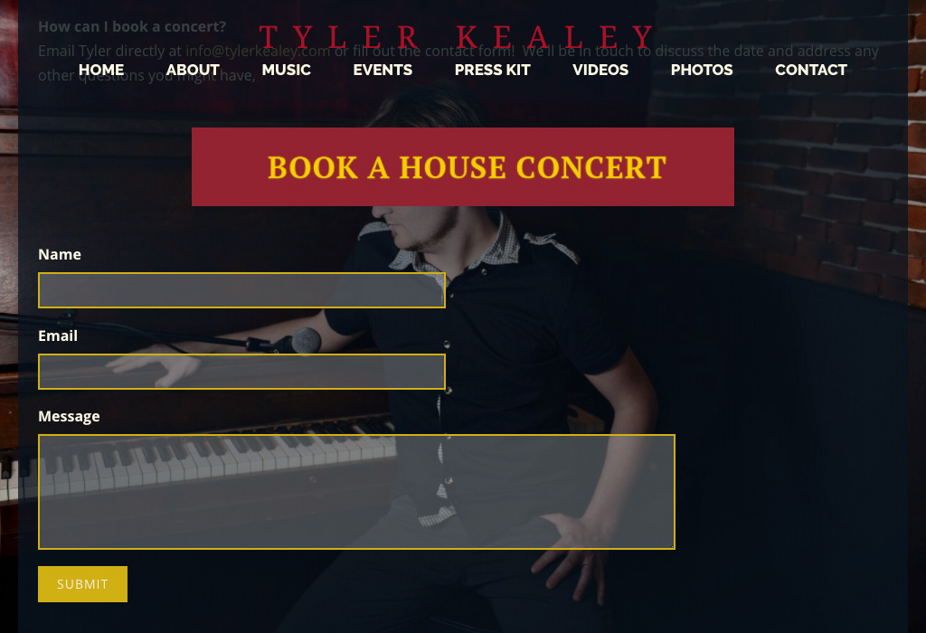 how to design a booking page for your band website