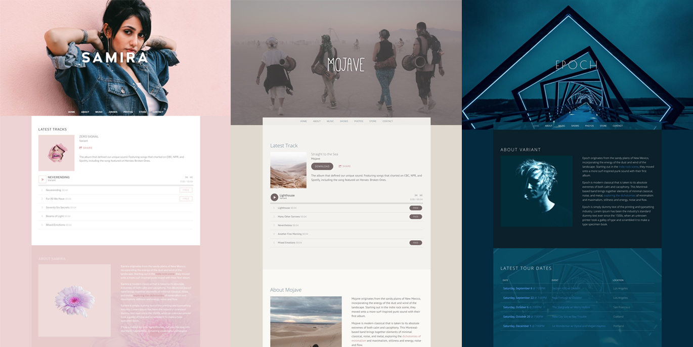 New Musician Website Themes: Three New Primer Variants!