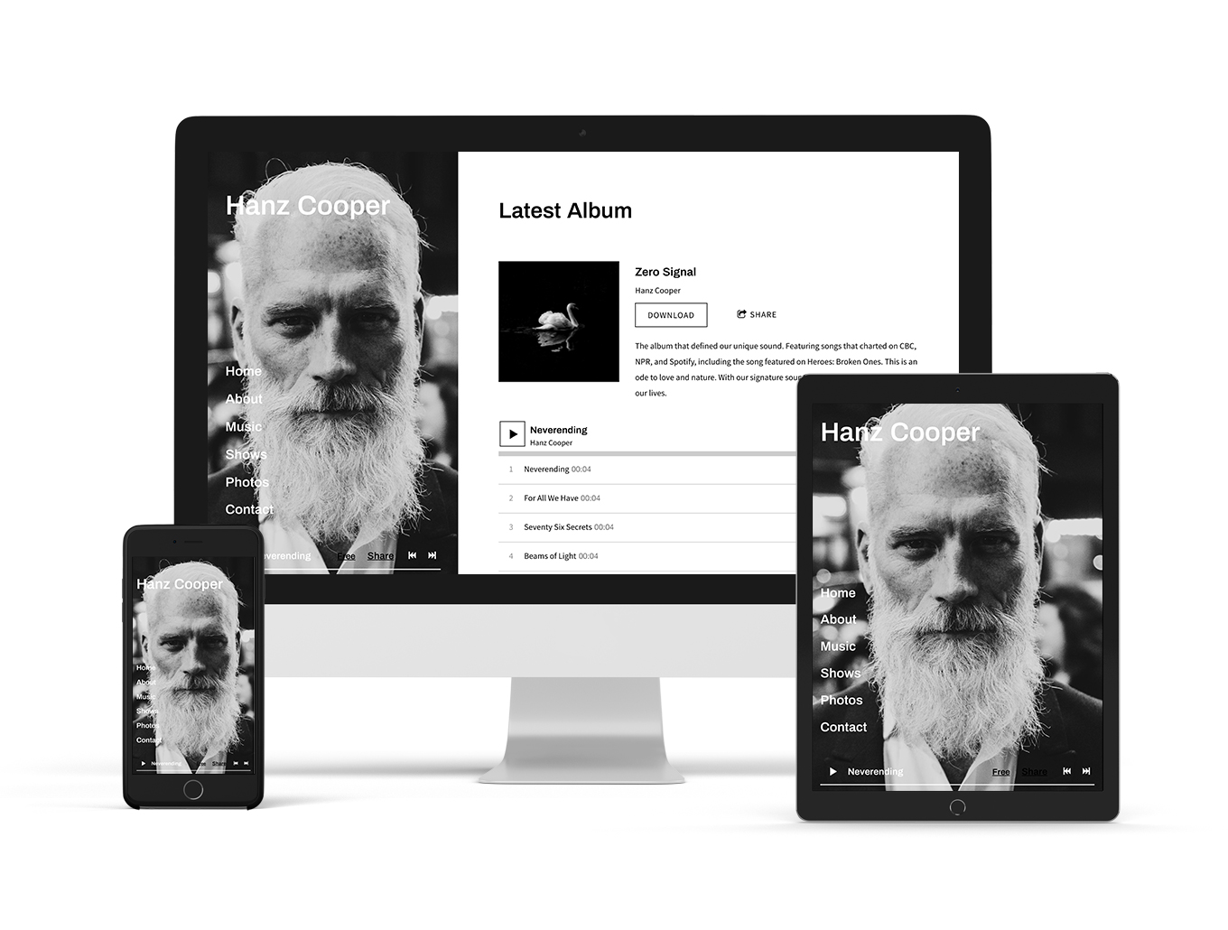 Music Website Theme: Mezzo - Neutral variation