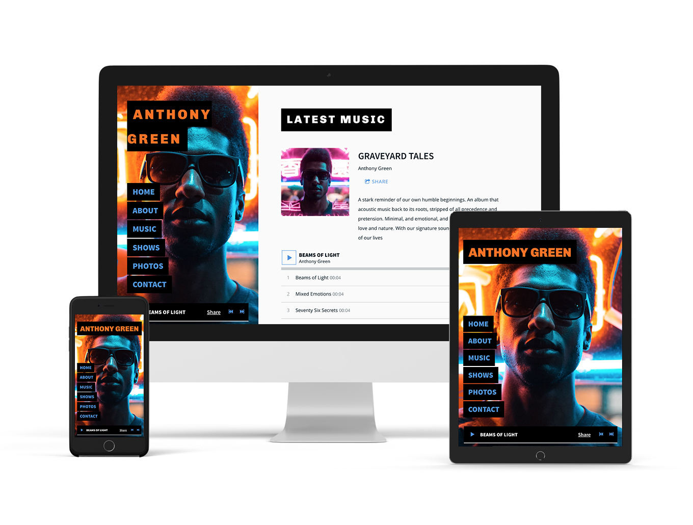 Music Website Theme: Mezzo - Sombre variation