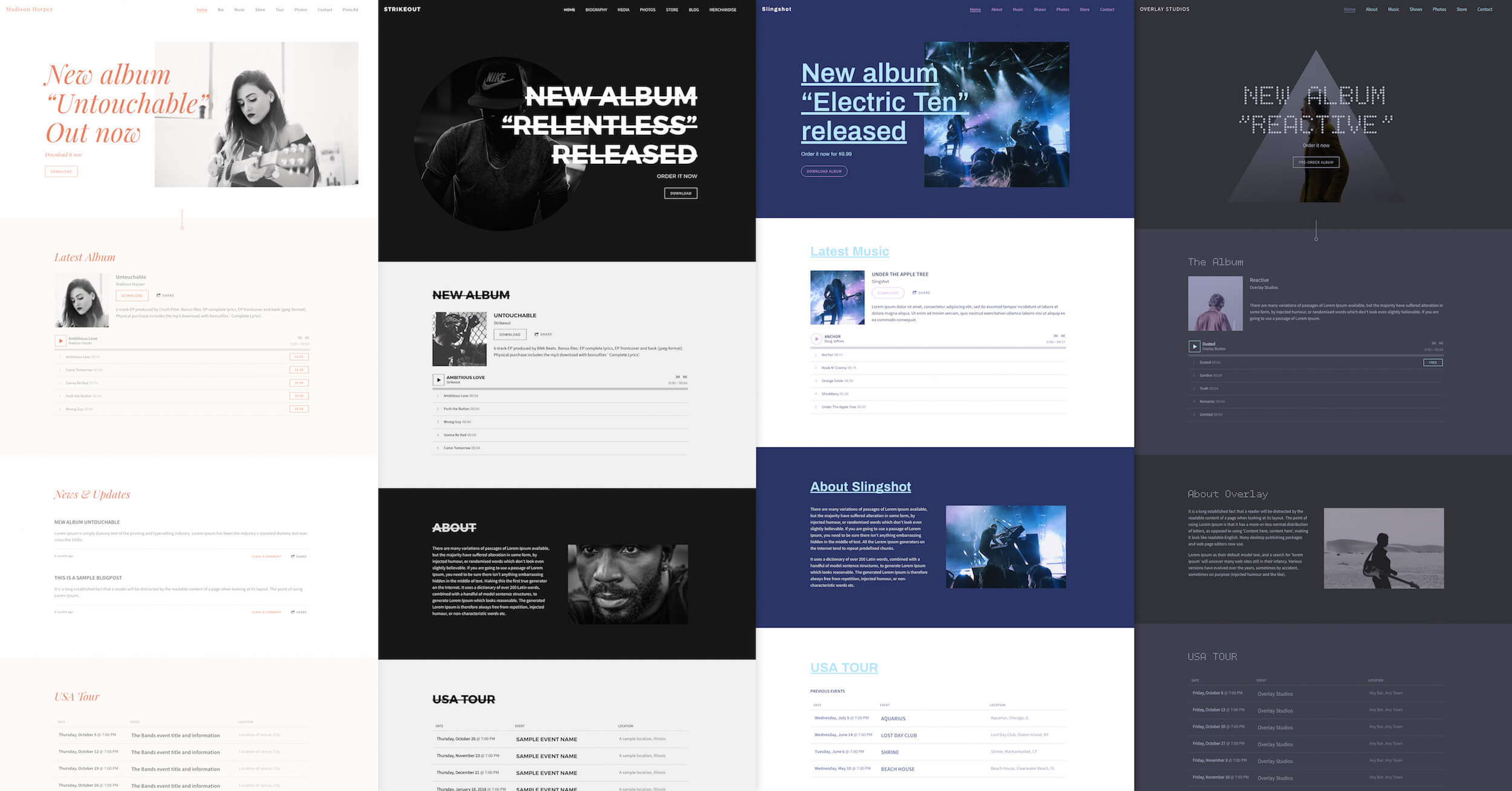 Example Website Homepage - How to make a music website