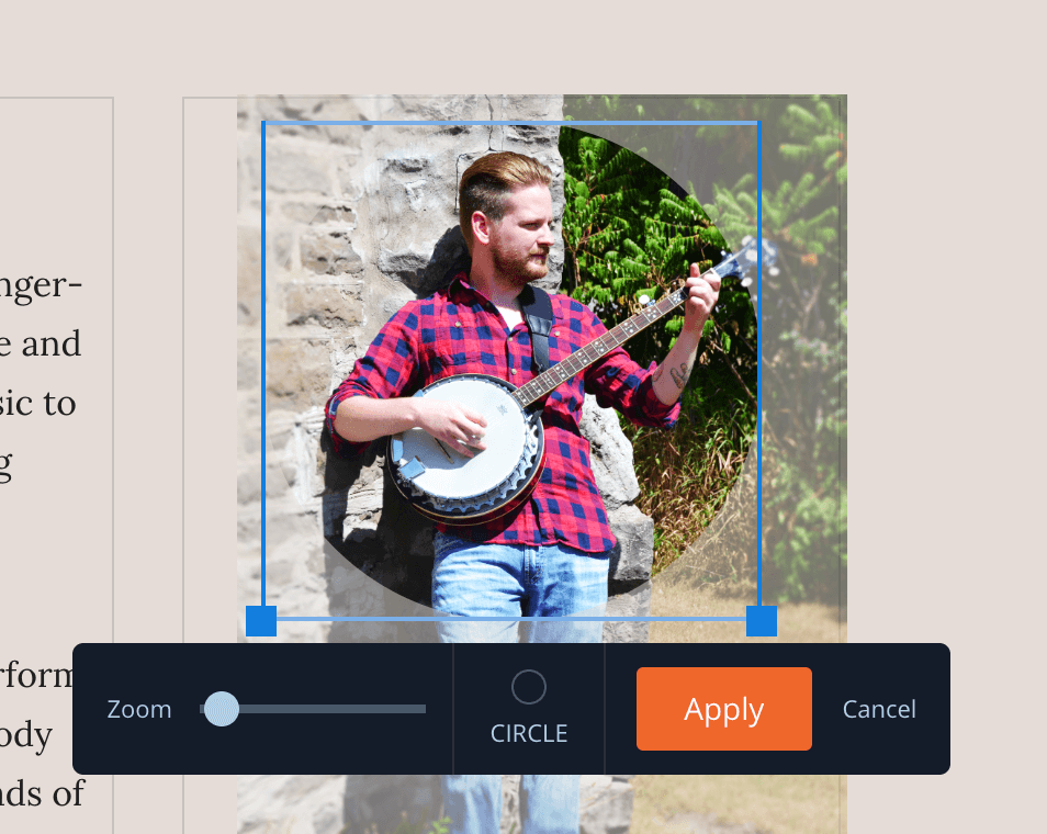 New: Preset image ratios and shapes for your music website - custom options