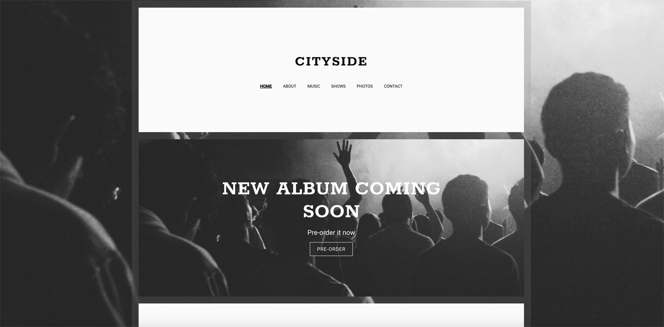 Band website template Echo header area