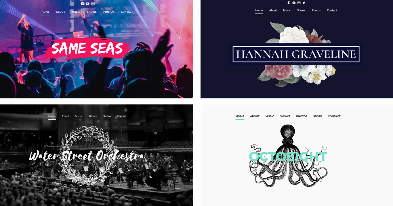 Motive website template titles