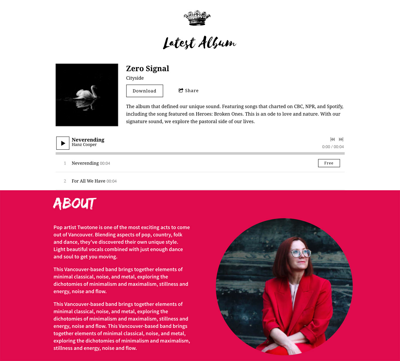 Music website template fonts