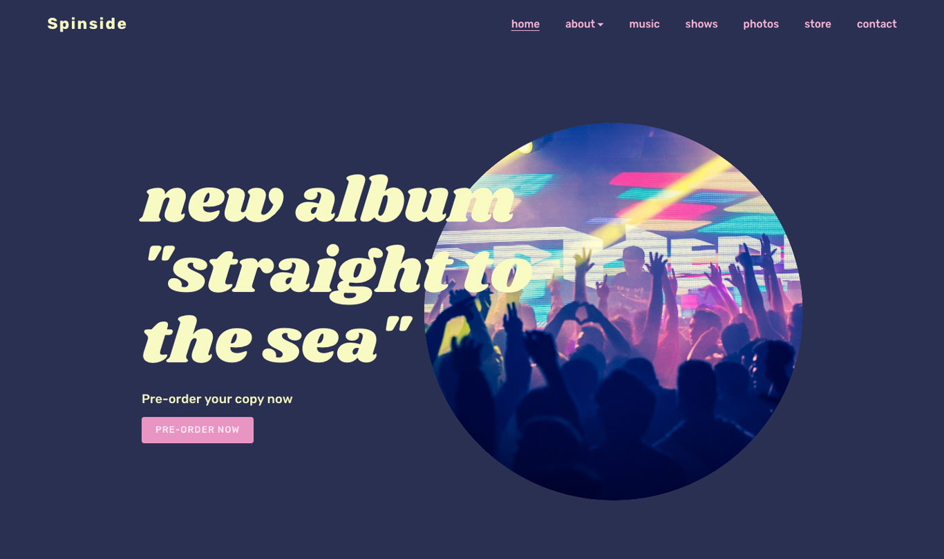 Music website with big header image
