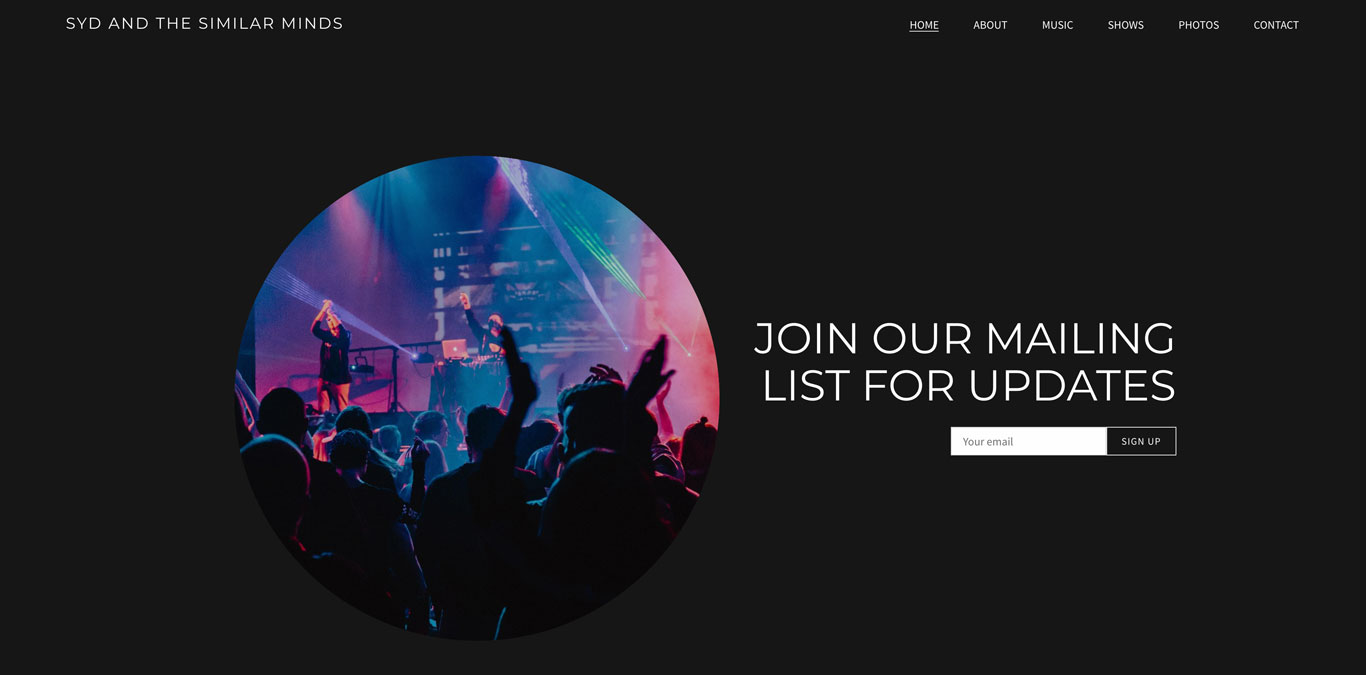 Mailing list call-to-action on music website