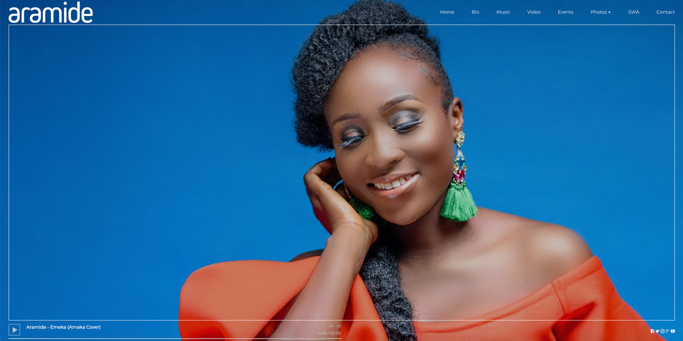 Singer website design Aramide