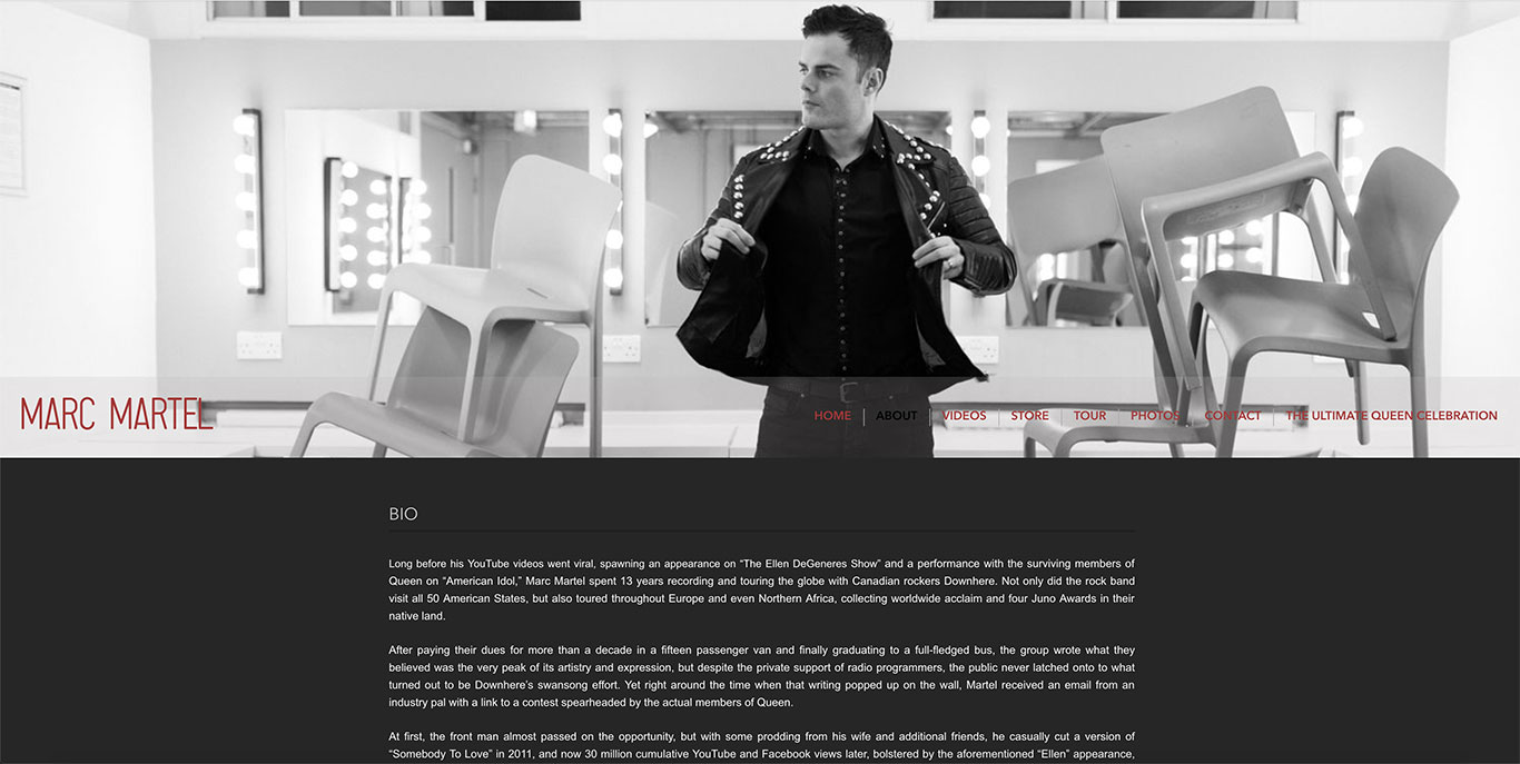 Singer website design Marc Martel