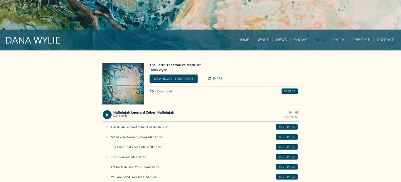 Singer website design Dana Wylie