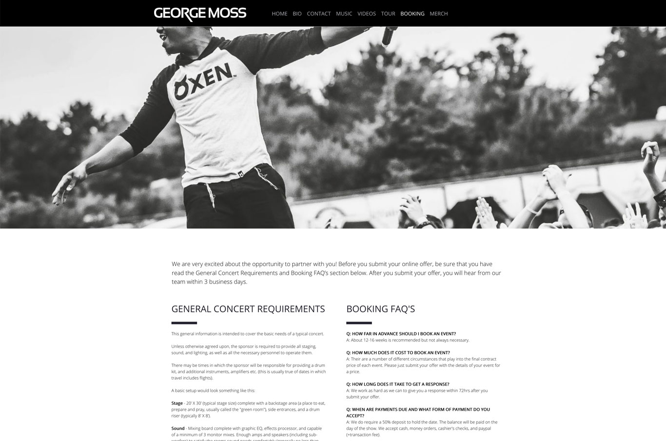 Singer website design George Moss