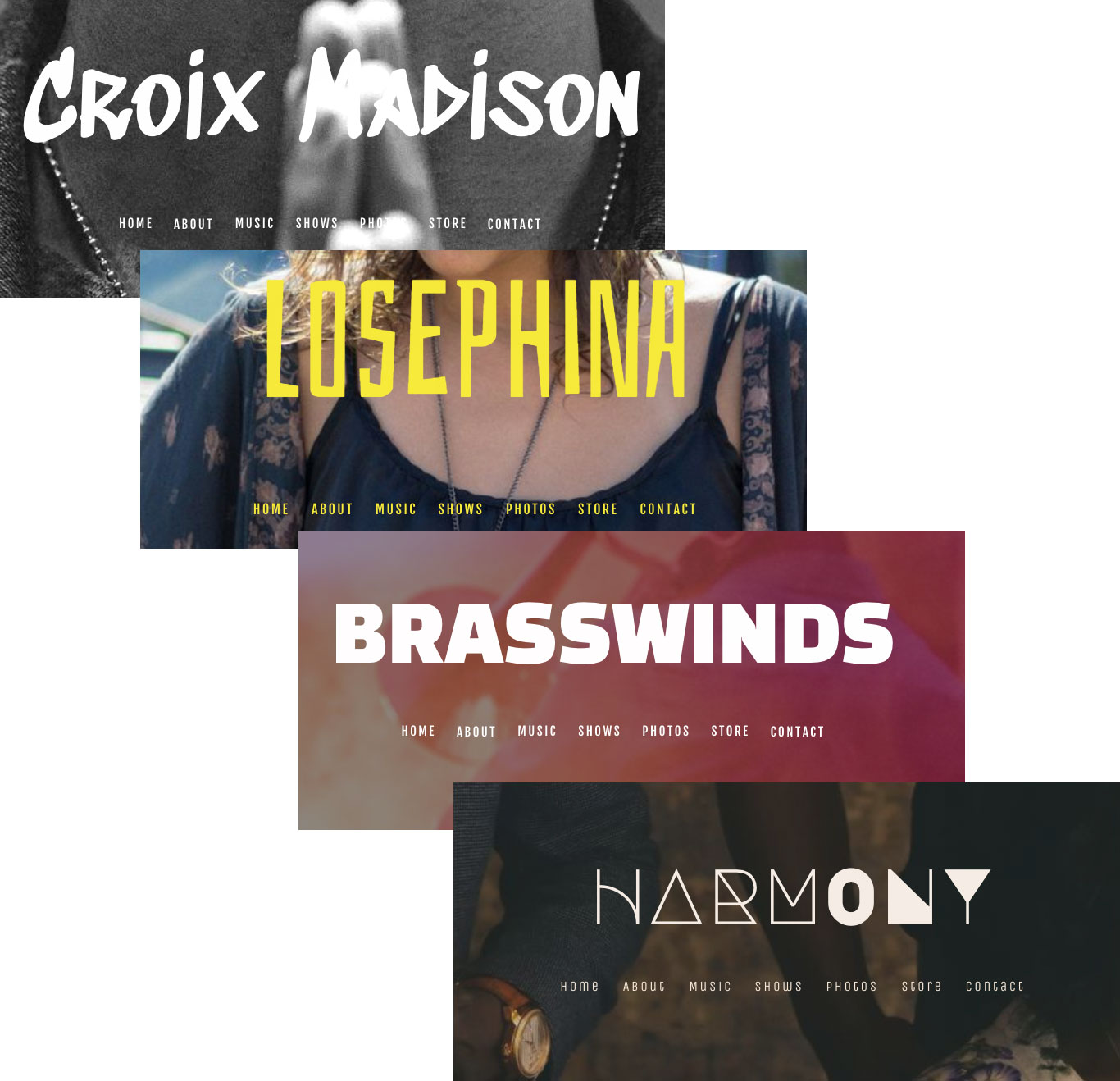 Music website template font choices