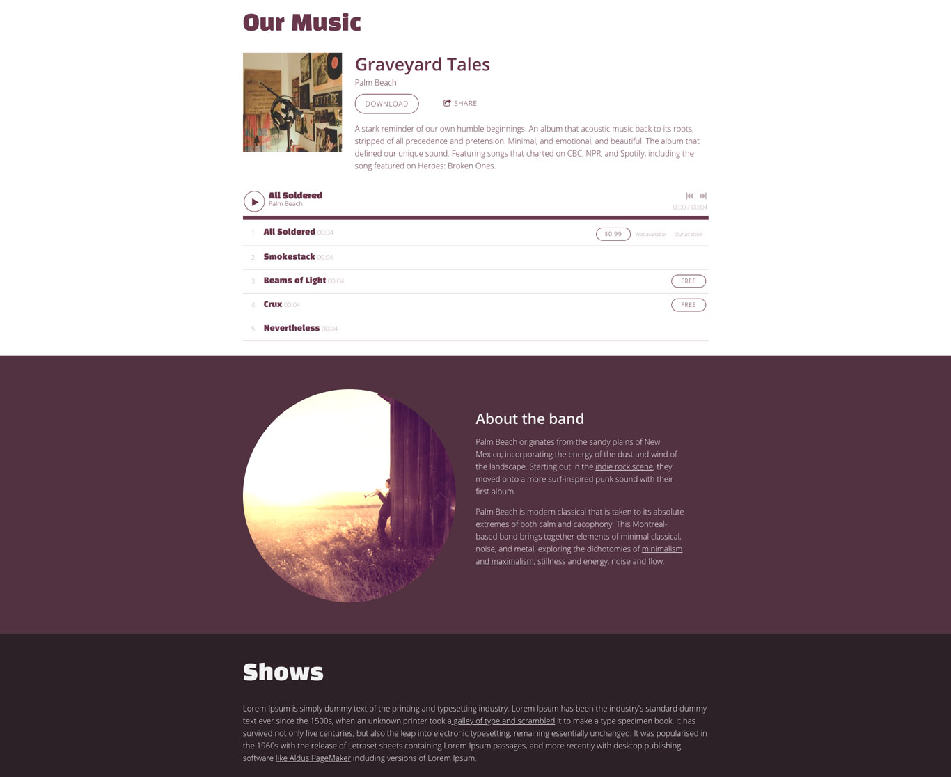 Music website template example with sections